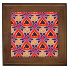 Triangles honeycombs and other shapes patternFramed Tile by LalyLauraFLM