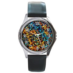 Colorful Seashell Beach Sand, Round Metal Watches by Costasonlineshop