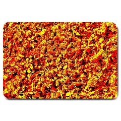 Orange Yellow  Saw Chips Large Doormat  by Costasonlineshop