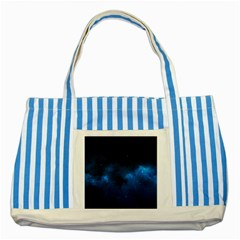 Starry Space Striped Blue Tote Bag  by trendistuff