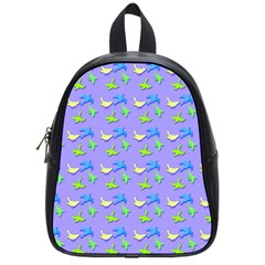 Blue And Green Birds Pattern School Bags (small)  by LovelyDesigns4U