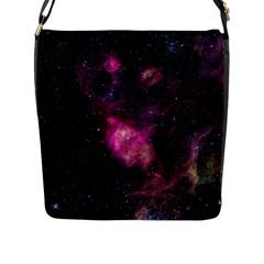 PURPLE CLOUDS Flap Messenger Bag (L)  by trendistuff