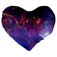 Milky Way Center Large 19  Premium Flano Heart Shape Cushions by trendistuff