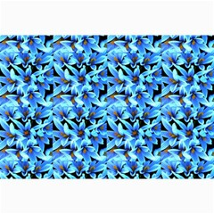 Turquoise Blue Abstract Flower Pattern Collage 12  X 18  by Costasonlineshop