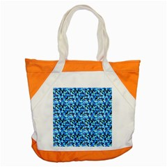 Turquoise Blue Abstract Flower Pattern Accent Tote Bag  by Costasonlineshop