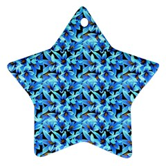 Turquoise Blue Abstract Flower Pattern Star Ornament (two Sides)  by Costasonlineshop