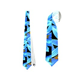 Turquoise Blue Abstract Flower Pattern Neckties (two Side)  by Costasonlineshop