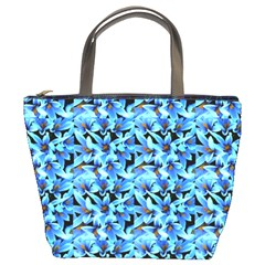 Turquoise Blue Abstract Flower Pattern Bucket Bags by Costasonlineshop