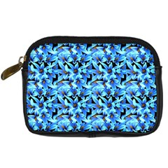 Turquoise Blue Abstract Flower Pattern Digital Camera Cases by Costasonlineshop