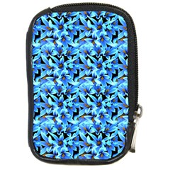 Turquoise Blue Abstract Flower Pattern Compact Camera Cases by Costasonlineshop