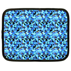 Turquoise Blue Abstract Flower Pattern Netbook Case (xxl)  by Costasonlineshop