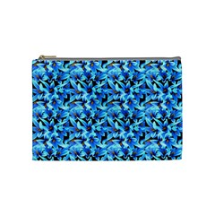 Turquoise Blue Abstract Flower Pattern Cosmetic Bag (medium)  by Costasonlineshop