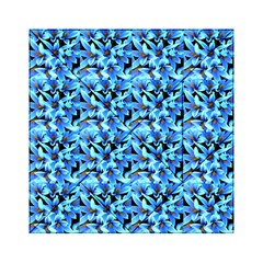 Turquoise Blue Abstract Flower Pattern Acrylic Tangram Puzzle (6  X 6 ) by Costasonlineshop