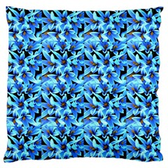 Turquoise Blue Abstract Flower Pattern Large Cushion Cases (one Side)  by Costasonlineshop