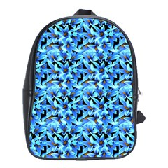 Turquoise Blue Abstract Flower Pattern School Bags (xl)  by Costasonlineshop