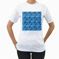 Turquoise Blue Abstract Flower Pattern Women s T Shirt (white)  by Costasonlineshop