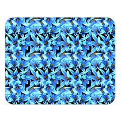 Turquoise Blue Abstract Flower Pattern Double Sided Flano Blanket (large)  by Costasonlineshop