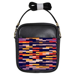 Rectangles In Retro Colors			girls Sling Bag by LalyLauraFLM