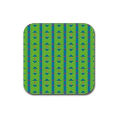Arrows And Stripes Patternrubber Square Coaster (4 Pack by LalyLauraFLM