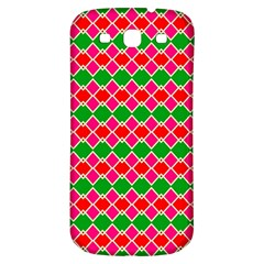 Red Pink Green Rhombus Pattern			samsung Galaxy S3 S Iii Classic Hardshell Back Case by LalyLauraFLM