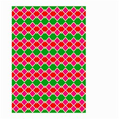 Red Pink Green Rhombus Pattern Small Garden Flag by LalyLauraFLM