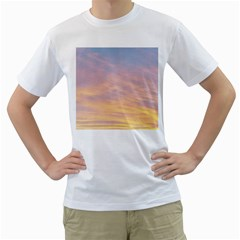Yellow Blue Pastel Sky Men s T Shirt (white) (two Sided) by Costasonlineshop