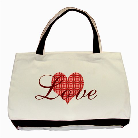 Red Love Patterned Heart Valentine By Lucy   Basic Tote Bag   Lnxi4ebps6vd   Www Artscow Com Front