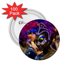 Costumed Attractive Dancer Woman At Carnival Parade Of Uruguay 2 25  Buttons (100 Pack)  by dflcprints
