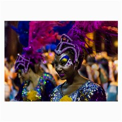 Costumed Attractive Dancer Woman At Carnival Parade Of Uruguay Large Glasses Cloth (2 Side) by dflcprints