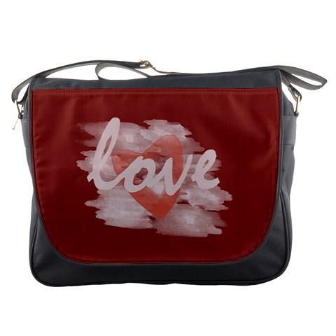 Romantic Watercolor Heart Love Red By Lucy   Messenger Bag   5ykn11hp4aet   Www Artscow Com Front