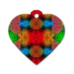 Colorful Goa   Painting Dog Tag Heart (one Side) by Costasonlineshop