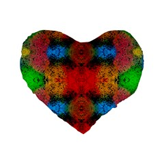 Colorful Goa   Painting Standard 16  Premium Flano Heart Shape Cushions by Costasonlineshop