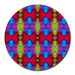 Colorful Painting Goa Pattern Round Mousepads by Costasonlineshop