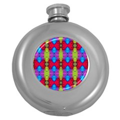 Colorful Painting Goa Pattern Round Hip Flask (5 Oz) by Costasonlineshop