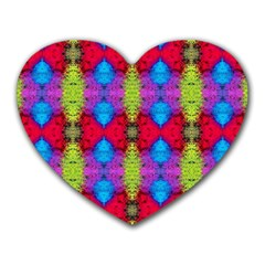 Colorful Painting Goa Pattern Heart Mousepads by Costasonlineshop