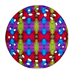 Colorful Painting Goa Pattern Ornament (round Filigree)  by Costasonlineshop
