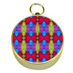 Colorful Painting Goa Pattern Gold Compasses by Costasonlineshop