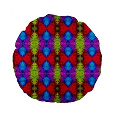Colorful Painting Goa Pattern Standard 15  Premium Flano Round Cushions by Costasonlineshop