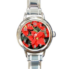 POINSETTIA Round Italian Charm Watches by trendistuff