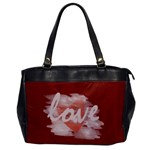 Romantic Watercolor Heart Love Red Bag - Oversize Office Handbag
