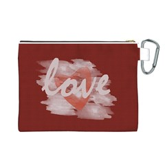 Cute Bright Red Romantic Watercolor Love Heart By Lucy   Canvas Cosmetic Bag (large)   2d38vecadyda   Www Artscow Com Back