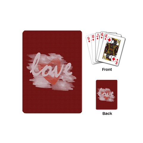 Cute Bright Red Romantic Watercolor Love Heart By Lucy   Playing Cards (mini)   Wxb9me4wqab1   Www Artscow Com Back