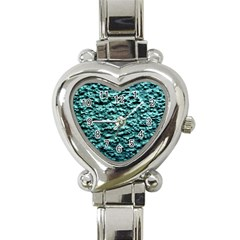 Green Metallic Background, Heart Italian Charm Watch by Costasonlineshop