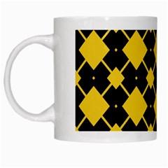 Connected Rhombus Pattern White Mug by LalyLauraFLM