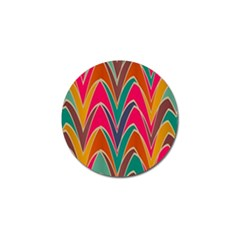 Bended shapes in retro colorsGolf Ball Marker (4 pack) by LalyLauraFLM