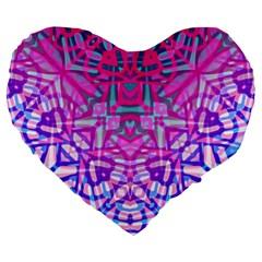 Ethnic Tribal Pattern G327 Large 19  Premium Flano Heart Shape Cushions by MedusArt