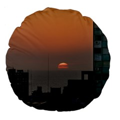Aerial View Of Sunset At The River In Montevideo Uruguay Large 18  Premium Flano Round Cushions by dflcprints