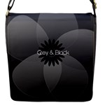 Pretty Grey Black Sheer Flower - Flap Closure Messenger Bag (S)