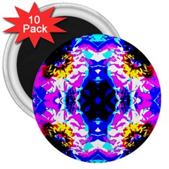 Animal Design Abstract Blue, Pink, Black 3  Magnets (10 pack)  by Costasonlineshop