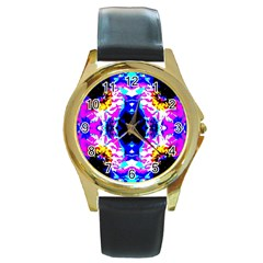 Animal Design Abstract Blue, Pink, Black Round Gold Metal Watches by Costasonlineshop